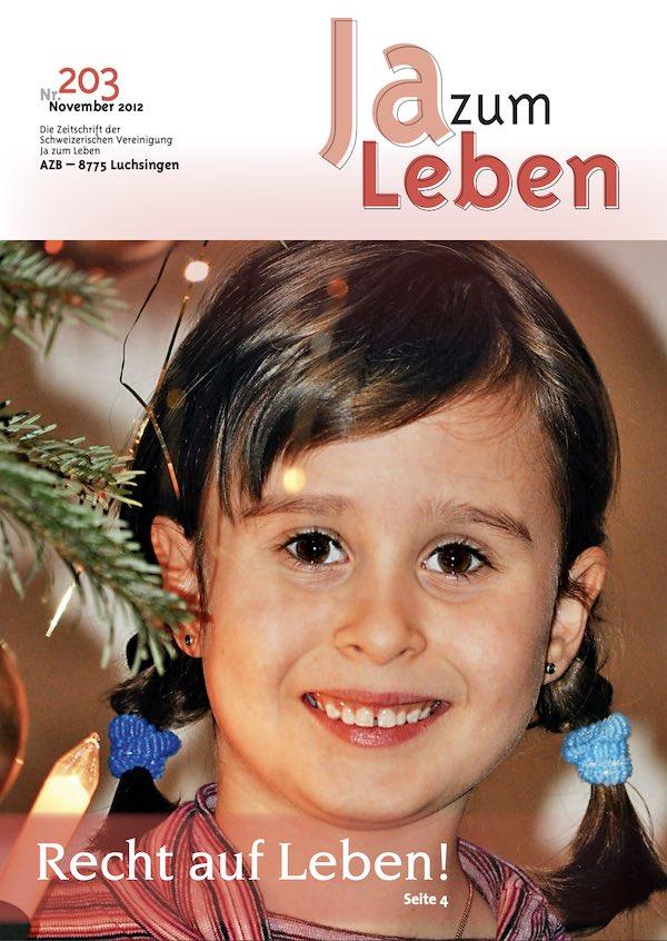 Titelbild Zeitschrift Ja zum Leben Dezember 2012