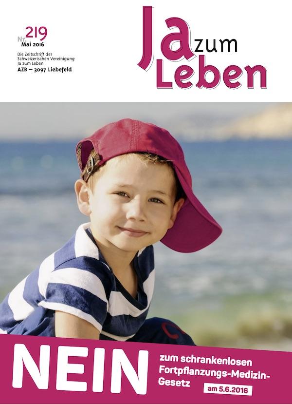 Titelbild Zeitschrift Ja zum Leben Mai 2016