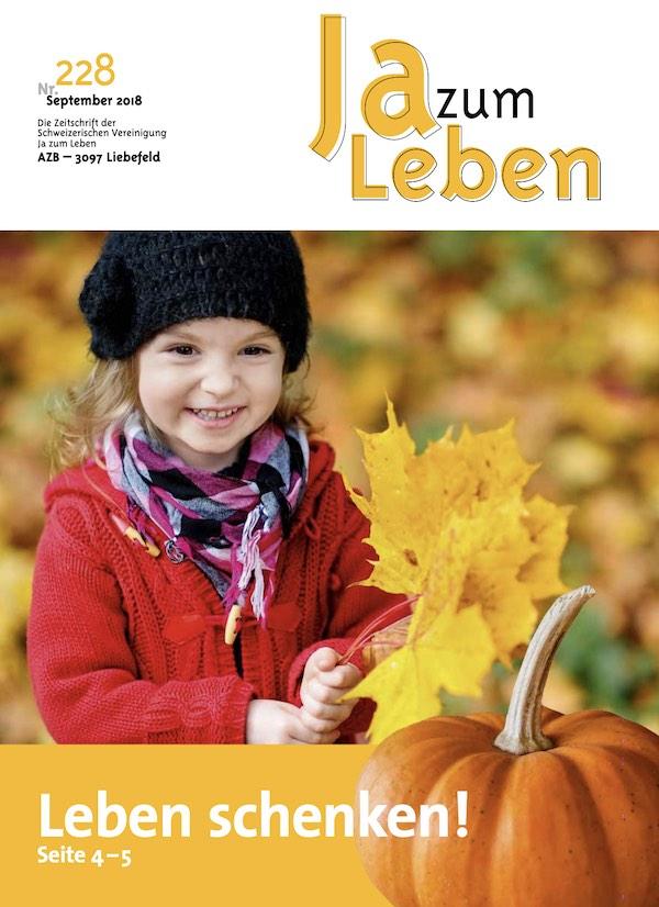 Titelbild Zeitschrift Ja zum Leben September 2018
