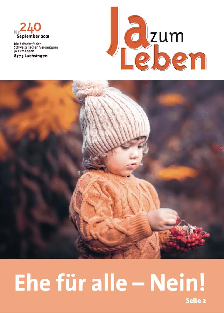 Titelbild Zeitschrift Ja zum Leben September 2021